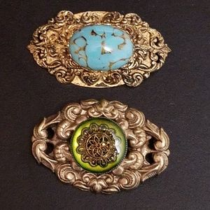 Pair of Vintage Renaissance Revival Brooches